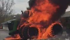Tractor fire damages road, business near Ionia   WOODTV.com