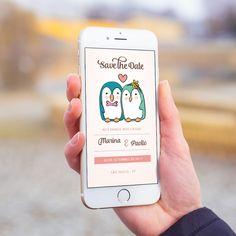 Convite digital celular whatsapp save the date casamento pinguim casal.