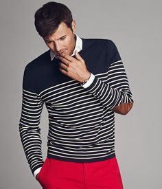 Nautical Sweater with Elbow Patches