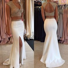 White Trumpet/Mermaid V-Neck Sleeveless Backless Sweep Train Satin Prom Dresses 2017