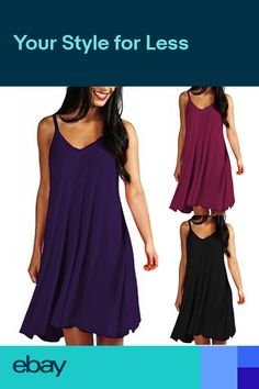 497fcbb3391 US Womens Solid Casual Plain Simple Style Loose Summer Sling Dresses  Sundress