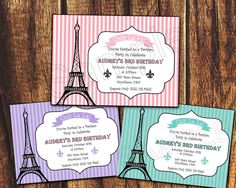 Pink, Purple or Blue Eiffel Tower Paris Themed Birthday Invitation (Listing is for a digital file). $5.99, via Etsy.
