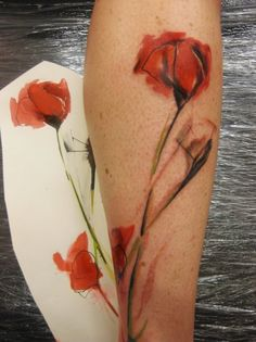 watercolor poppy flower tattoo /painting on skin