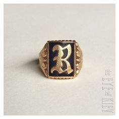 """Antique 14k Yellow GOLD Onyx Gothic Initial Letter """"B"""" or """"R"""" SIGNET... ❤ liked on Polyvore featuring men's fashion, men's jewelry, men's rings, mens pinky rings, mens initial rings, mens onyx rings, mens watches jewelry and mens gothic rings"""