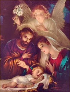 """the birth of Jesus ❤️ Words by St. John Vianney """"Dear parents, I implore you to imitate the Holy Family of Nazareth. Catholic Art, Religious Art, Vintage Christmas Cards, Christmas Pictures, Religious Pictures, Birth Of Jesus, Baby Jesus, Blessed Mother Mary, O Holy Night"""