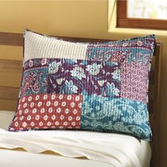 A lively interplay of color and pattern covers the face of this vibrant, pieced bedding. Finished with vertical stitching and fabric-bound edges; has envelope opening fits standard pillow. Technical Difficulties, Montgomery Ward, Bed Pillows, Pillow Cases, Fabric, Pattern, Color, Home, Pillows