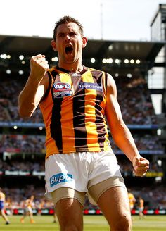 2015 Toyota AFL Grand Final - Hawthorn v West Coast - Luke Hodge of the Hawks celebrates a goal!
