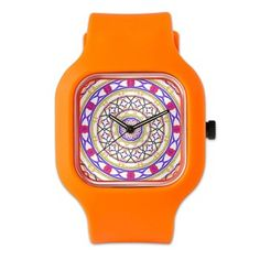 Colorful Clock In Indigo And Gold Watch