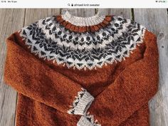 Icelandic Sweaters, Fair Isle Knitting Patterns, Knitwear, Diy And Crafts, Men Sweater, Pullover, Wool, My Style, Fashion
