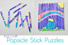 ¡Puzzle con palos de helados! Primero junta todos los palo y haz el dibujo que quieras con pinturas. Déjalo secar. Cuando esté seco mezcla los palos y a ver si eres capaz de volver a hacer el dibujo :) | Kids Craft | Manualidades para niños