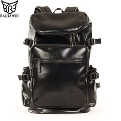 Special price BAIJIAWEI Large Capacity PU Leather Unisex Backpack Fashion School Bags For Teenager Women Men Travel Backpacks  Shoulders Bag just only $33.59 with free shipping worldwide  #backpacksformen Plese click on picture to see our special price for you
