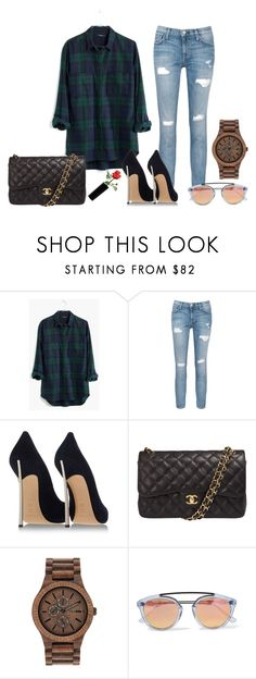 """Easy"" by alexbtni ❤ liked on Polyvore featuring Madewell, Current/Elliott, Casadei, Chanel, WeWood, women's clothing, women's fashion, women, female and woman"