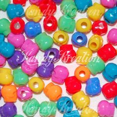 50 Bright Colored Skull shaped pony beads day of the by KandyLand