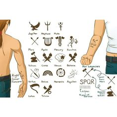 SPQR tattoos Percy Jackson ❤ liked on Polyvore featuring accessories and percy jackson
