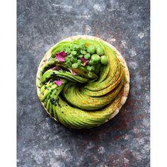 Avocado 'Cake' - Crispy Rice Waffle with Cress, Black Salt, Rose Petals, Peas…