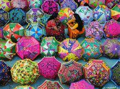 Colorful umbrellas in a market, Jaipur, Rajasthan, India