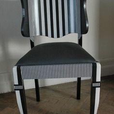 Chaise ancienne relookée papier verni