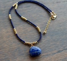 Lapis Necklace, Gold and Lapis Beaded Necklace, Boho Chic Blue Beaded Necklace, Gemstone Beaded Necklace, Womens Beaded Necklace - image for youTam Davis Designs - Unique Handcrafted Jewelry made in Ideas for jewerly making ideas gemstoneBea Diy Jewelry Necklace, Necklace Designs, Handmade Necklaces, Boho Jewelry, Handcrafted Jewelry, Beaded Jewelry, Beaded Bracelets, Necklace Ideas, Craft Jewelry