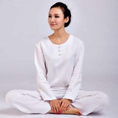 Feminine Tai Chi Uniform Rounded Collar White