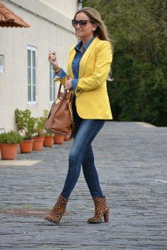 yellow and denim