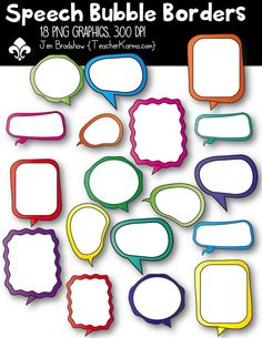 Speech Bubble Borders clipart.  These ** 18 **  graphics are just perfect for adding to your classroom materials and educational products that you sell on Teachers Pay Teachers or other sell sites. Commercial and personal use is ok.