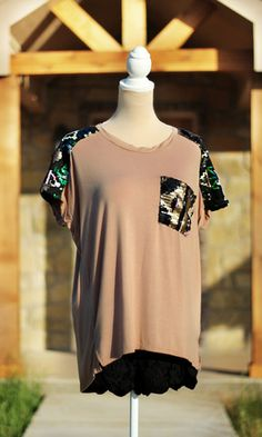 Just A Dreamer Sequin Top - Tan #SweetSouthernHoney