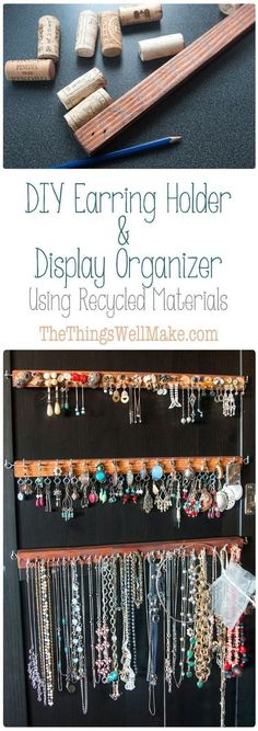 Using recycled materials like scraps of wood and wine corks, you can make a handy DIY earring holder for studs and post earrings that is also a beautiful and practical display organizer. #diystudearringsholder