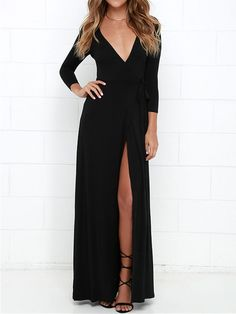 Shop Black Wrap Front Plunge Long Sleeve Split Maxi Dress from choies.com .Free shipping Worldwide.$18.99