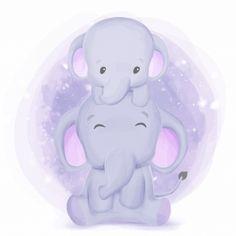Happy life of elephant family Premium Ve. Elephant Family, Cute Elephant, Bebe Vector, Bride And Groom Silhouette, Elephant Pictures, Elephant Illustration, Happy Birthday Balloons, Baby Images, Free Baby Stuff
