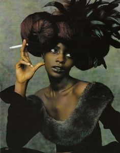 Ruven Afanador | Kiara Kabukuru, Vogue Germany 1997 (it's true, smoking looks really cool... but it makes you ill if you do it a lot )