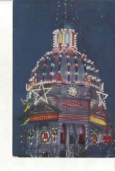 Lights of Minden Nebraska The Christmas City Vintage 1940s Postcard