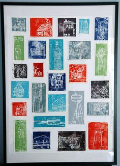 """city"" block print collage, kindergarten auction project"