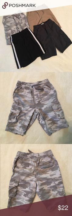 💐Bundle of Boy's Shorts Used in excellent condition; 2 Children's Place(khaki w/2 pockets & bluish cargo style - small spot on left back side; see in 5th pic); jumping beans black basketball shorts; Sonoma camouflage cargo shorts Bottoms Shorts