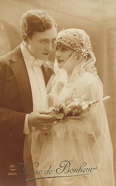 Vintage French Wedding Postcard, ca. 1920s