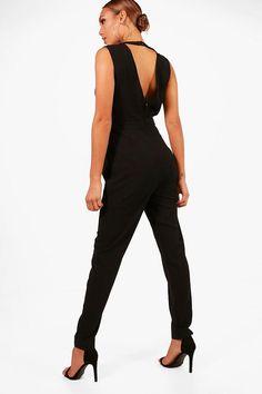 fe6f06aebcba Theresa Wrap Front Skinny Leg Jumpsuit Skinny Legs, Playsuit, Boohoo,  Jumpsuit, Thin