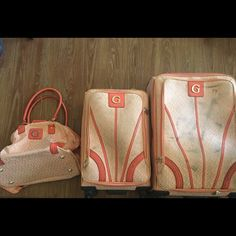 Guess Luggage 3 pieces 360 wheels please see picture bags do have wear they have been checked Guess Bags Travel Bags