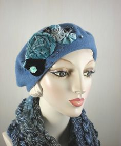 bb53a197e21 Women s ladies traditional french wool beret tam in slate blue with  handmade vintage velvet floral design
