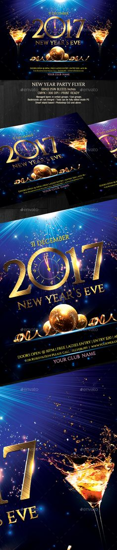 2017 New Year Party Flyer Template PSD