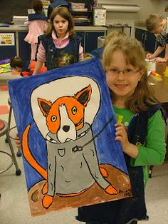 Art with Mrs. Seitz Based on Blue Dog by American Artist George Rodrigue