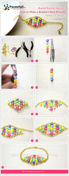 How to Make a Candy-colored Beaded Chain ... | Jewelry Making Tutorial by wanting