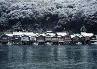 "traditional ""Funaya"" boathouse for fisherman in Ine, Kyoto,Japan"
