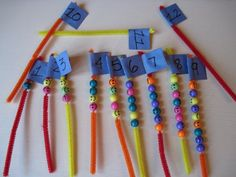 Use Yellow Beads (ball) to do this. 2 skills in one counting and fine motor Could use yellow and 2 shades of blue and make patterns too!
