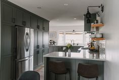 Sharing our family home ready for summer! Kitchen Cabinet Colors, Painting Kitchen Cabinets, Olive Green Kitchen, Brick Fireplace Makeover, Outdoor Furniture Plans, Kitchen Styling, Kitchen Design, Home And Family, Tissue Garland