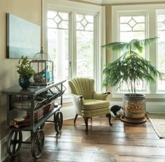 """The Family room is painted in Sherwin Williams' """"Creamy"""".  Vintage Whites Blog"""