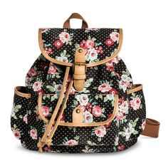 Women's Polka Dot and Floral Print Mini Backpack Handbag with Drawstring Closure - Black
