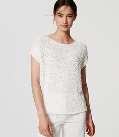 LOFT Ann Taylor Womens Ivory Natural Bubble Stitch Pullover Sweater Top M Cotton Nylon Textured Knit Dolman Sleeve Sleeve Length Bust Length Petite Sweaters, Stitch Fix, Pullover Sweaters, Ann Taylor, Bubbles, Ivory, Knitting, Loft, Cotton