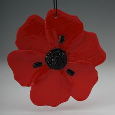 Poppy fused glass ornament 4 inches  Tomato Red by Artdefleur, $17.00