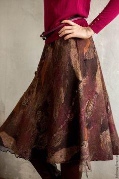 Купить Юбка валяная Горький шоколад - коричневый, юбка, юбка зимняя, юбка женская