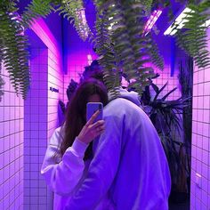Image about love in 💜✨ purple aesthetic by sophia Ulzzang Couple, Ulzzang Girl, Cute Couples Goals, Couple Goals, Vaporwave, Tumblr Neon, Classy Outfit, Couple Travel, Tumblr Couples