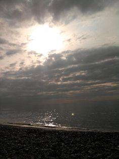coucher de soleil en front de mer